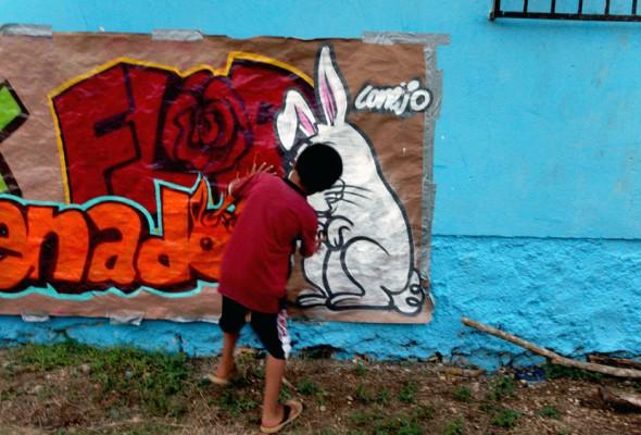 Taller de graffiti. Centro Cultural Radio Tzay Kin.